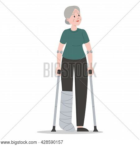 Old Woman On Crutches With A Broken Leg