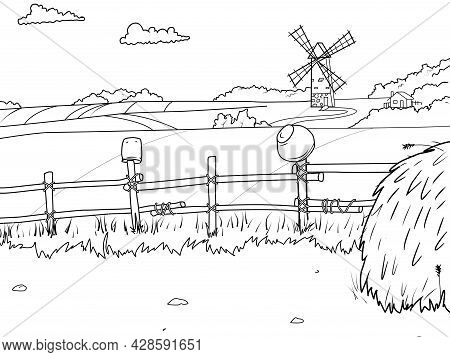 Rural Landscape, Field And Haystack. Children Coloring Book.
