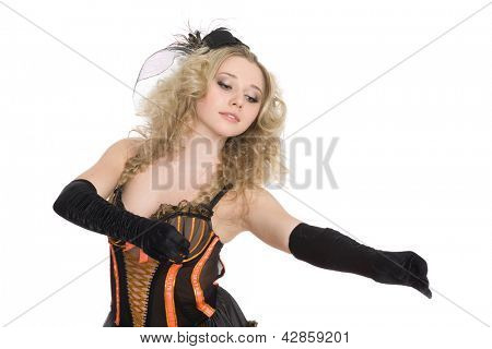 Young beautiful sexy girl with blond curly hair dancing cancan.