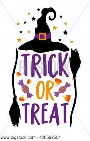 Trick Or Treat- Halloween Phrase With Witch Hat , Candy, And Broomstick. Perfect For Scrapbooking, H