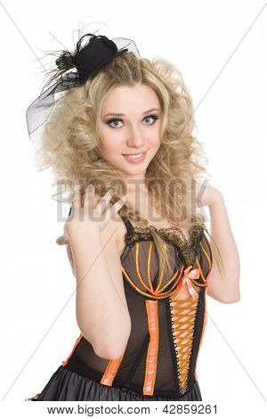 Beautiful blonde girl dancing the cancan.
