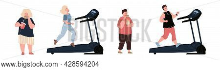 Vector Flat Cartoon Characters Doing Cardio On Treadmill.transformation Of Human Body After Sports A