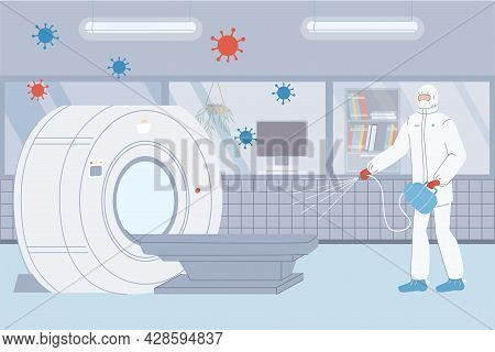 Vector Flat Cartoon Doctor Character In Protective Suit Disinfects Mri Table In Clinic Lab-coronavir
