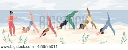 Vector Flat Cartoon Women Characters Doing Yoga-sports Class, Group Of Girls Perform Yoga Poses On B