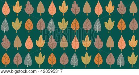 Seamless Pattern Background With Various Autumn Leaves In Simple Organic Flat Hand Drawn Style. Cute