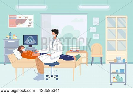 Vector Flat Cartoon Patient, Doctor Characters.physician Character Examines Woman Using Ultrasound,