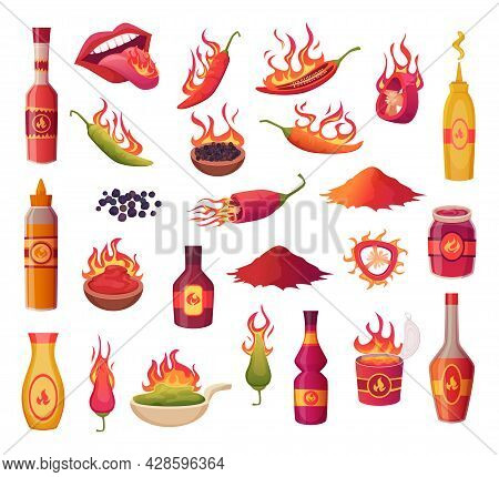 Hot Peppers. Burn Flame From Green And Red Pepper Ingredients For Preparing Food Traditional Mexican
