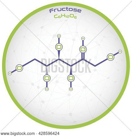 Large And Detailed Infographic Of The Molecule Of Fructose