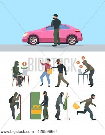 Robbery Persons. Bad Scary And Dangerous Asked Thieves Handbag Victim Burglary Characters Computer H