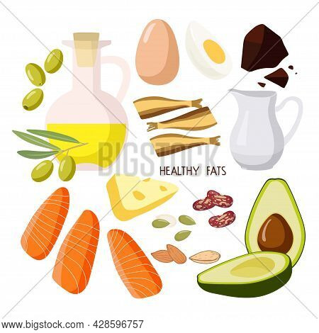 Foods Containing Healthy Fats. High Fat Food Isolated On White. Olive Oil, Avocado, Fish, Nuts, Crea