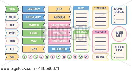 Organizer Stickers. Calendar Scrapbook Elements For Daily Pages Design Templates Journal Or Self Pla