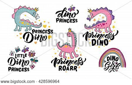 Hand Sketched Pink Dino Vector Illustration With Lettering Typography. Concept For Children T-shirt