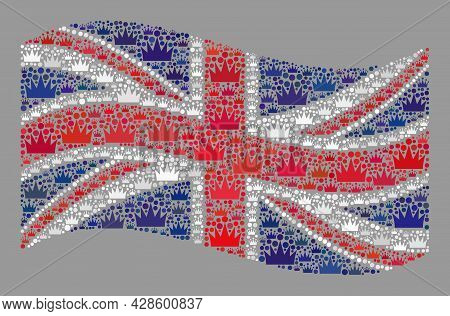Mosaic Waving United Kingdom Flag Constructed Of Crown Icons. Royalty Vector Collage Waving United K