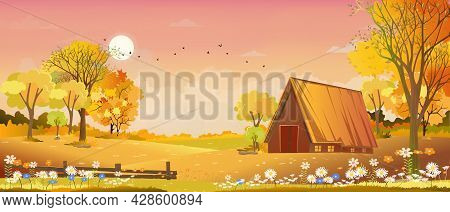 Vector Autumn Landscape Wood Barn  And Misty Forest Trees With Clouds ,orange And Pink Sky,illustrat
