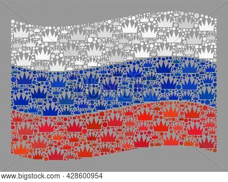 Mosaic Waving Russia Flag Designed With Royal Icons. Kingdom Vector Mosaic Waving Russia Flag Organi
