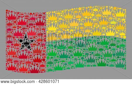 Mosaic Waving Guinea-bissau Flag Designed With Royal Icons. Kingdom Vector Collage Waving Guinea-bis