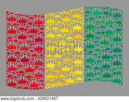 Mosaic Waving Guinea Flag Designed Of Royal Items. Luxury Vector Collage Waving Guinea Flag Designed