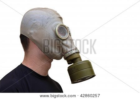 Man With Old Style Gas Mask Isolated On White Background, Side View
