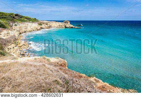 The Punticeddha Beach Or Spiaggia Punticeddha Of Santandrea, Salento Adriatic Sea Coast, Apulia, Ita