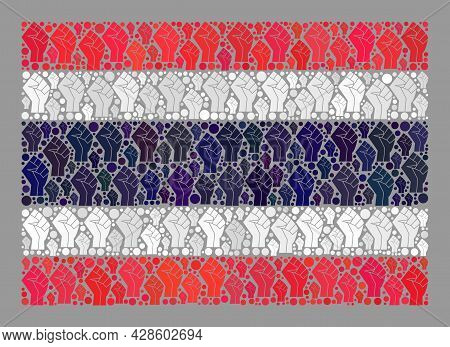 Mosaic Rectangular Thailand Flag Designed Of Riot Hand Elements. Strike Hand Vector Mosaic Thailand