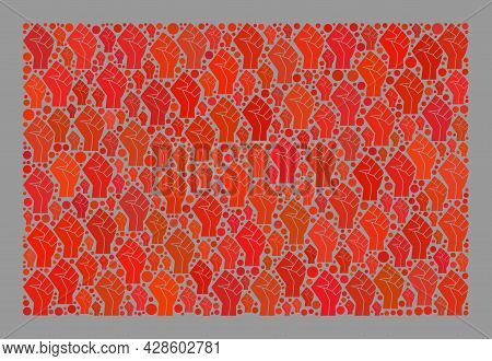 Mosaic Rectangular Red Flag Created With Force Icons. Riot Hand Vector Collage Red Flag Designed For