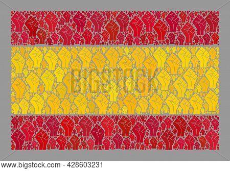 Mosaic Rectangular Spain Flag Created With Riot Hand Elements. Revolution Hand Vector Mosaic Spain F