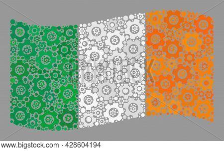 Mosaic Waving Ireland Flag Created With Component Icons. Vector Cog Mosaic Waving Ireland Flag Combi