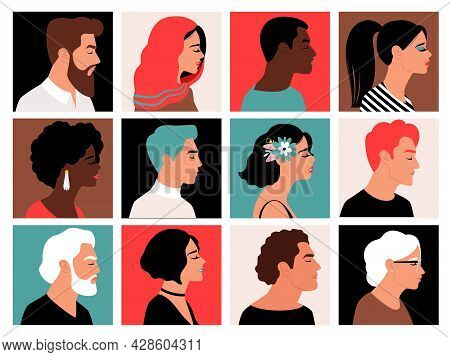 People Side Faces. Profile Face Set, Muslim And Black Women, Young And Bearded Men Heads Avatars Cha