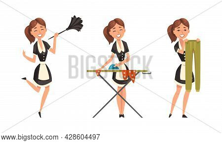 Smiling Maid Or Housemaid In Black Dress And White Apron Dusting And Ironing Vector Set