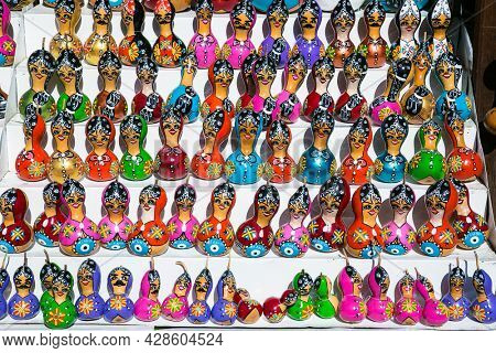 Alanya , Turkey- October 20, 2020:   Wooden Nesting Dolls souvenirs for sale in Alanya old town,  Turkey.