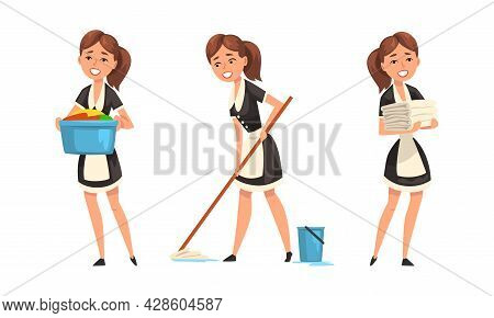 Smiling Maid Or Housemaid In Black Dress And White Apron Mopping Floor And Doing Laundry Vector Set