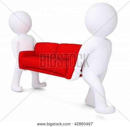 Two white 3d man bear red sofa