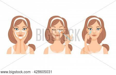 Face Care Routine With Young Girl With Pink Headband Applying Patches And Massaging Skin Vector Set