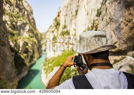 Man In A Summer Day In Congost De Montrebei, Lleida, Spain