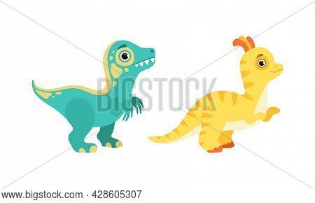 Funny Dinosaur As Cute Prehistoric Creature And Comic Jurassic Predator Vector Set