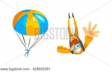 Skydiver Flying With Parachute Engaged In Extreme Sport Vector Set