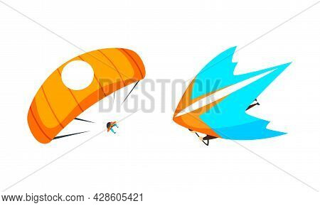 Skydiver Flying With Parachute And Paraglider As Extreme Sport Vector Set