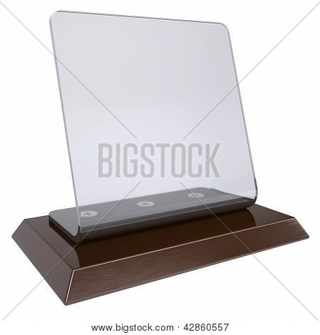 Transparent desktop plate. Isolated render on a white background poster