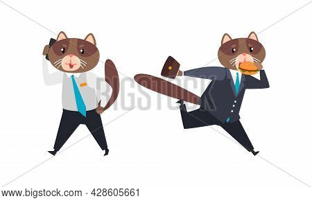 Cat Businessman Character In Formal Suit And Tie Speaking By Phone And Eating Hamburger While Runnin