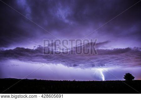 Lightning In Balaguer, Lleida, Catalonia, Spain