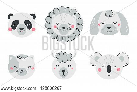 Set Of Cute Animal Faces In Flat Style. Collection Of Characters Lion, Cat, Dog, Panda, Llama, Koala