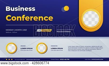 Business Conference Banner Template For Website With Two Circle Frame And Blue Gradient Geometric Ba
