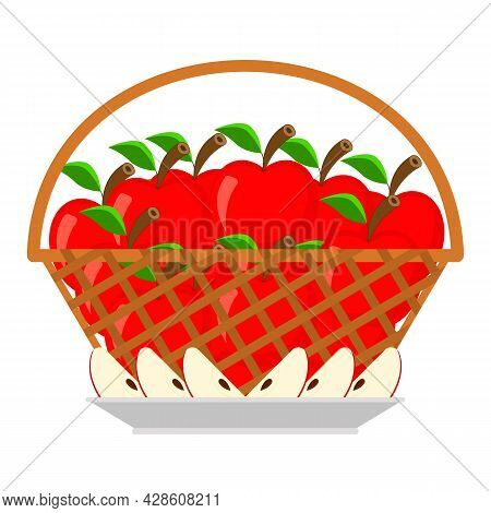Wicker Basket Full Of Red Ripe Apples And Slices Apple With A Seed Inside Lie On A Plate. Still Life