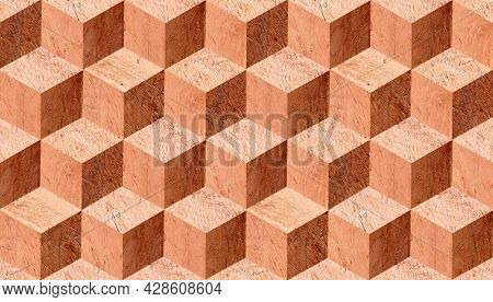 Natural horizontal wooden background with cube 3d effect. Parquet flooring design. Wood pattern with volumetric boxes