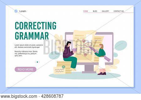 Online Grammar Correcting Website Banner Mockup, Flat Vector Illustration.