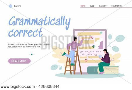 Grammar Online Correction And Proofreading Text Website, Vector Illustration.