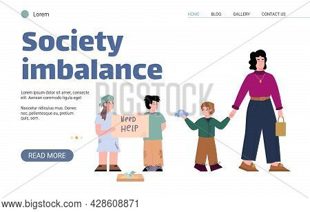 Poor Homeless Kids Begging Money From Wealthy People A Vector Illustration.