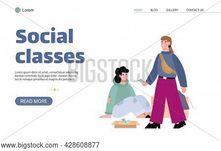 Social Classes And Gap Between Rich And Poor, Flat Cartoon Vector Illustration.