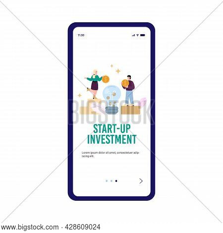 Mobile Phone App For Crowdfunding, Investment And Charity For Business Idea.