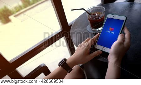Chiang Mai, Thailand, August 1, 2021: Shoppers Shopping Online Through Lazada With Iphone Xi At The